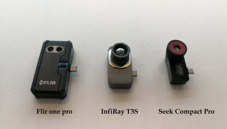 Flir one pro,InfiRay T3S,Seek Compact Pro