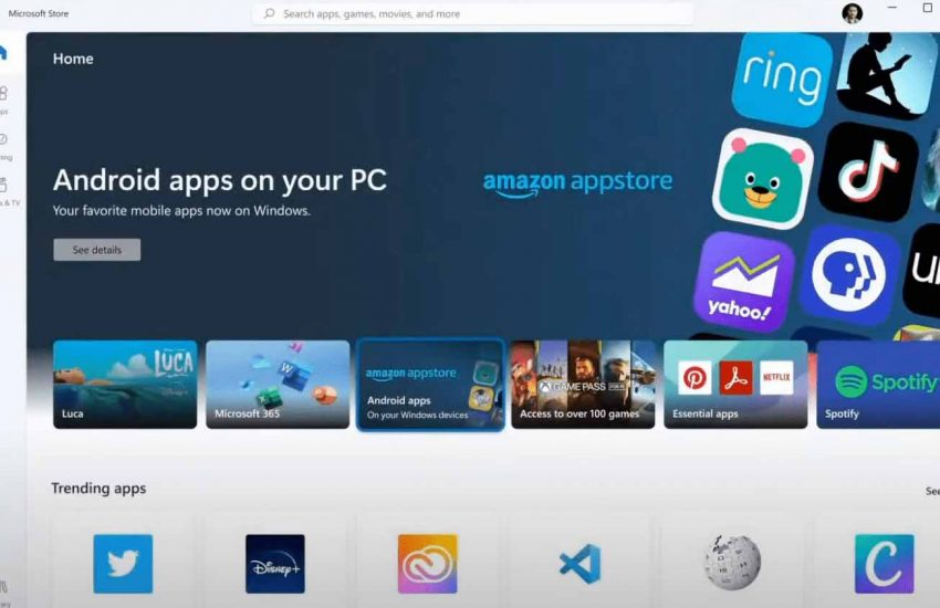 Andorid apps in windows11