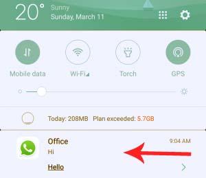 Read WhatsApp Message through the Notification bar